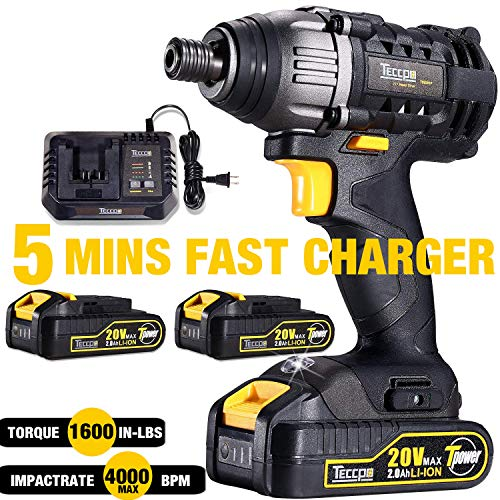 Impact Driver, TECCPO 1600In-lbs 20V MAX Impact Drill, 2X2.0Ah Batteries, 1/4″ All-metal Hex Chuck, 30 Minutes Fast Charger, 0-2900RPM Variable Speed, Tool Bag Included – TDID01P
