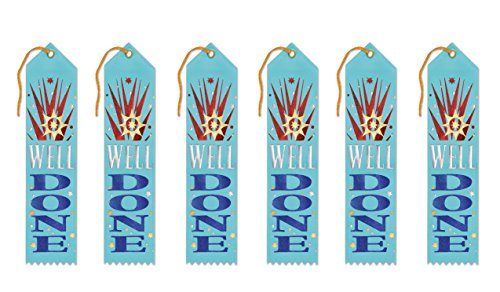 Beistle AR182 Well Done Award Ribbons, 2 by 8-Inch, 6-Pack