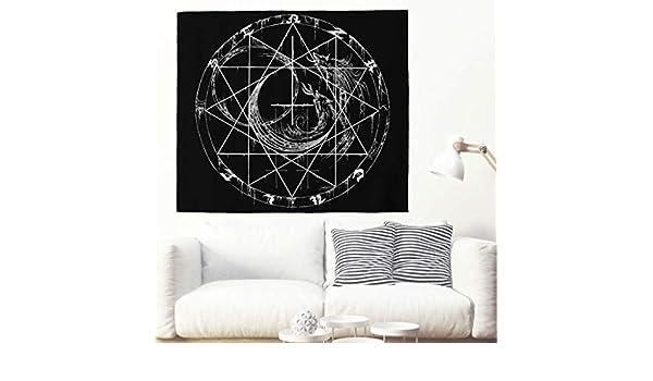WSHINEW tapiz negro con diseño de lobo aullando vikingo, tapiz de ...