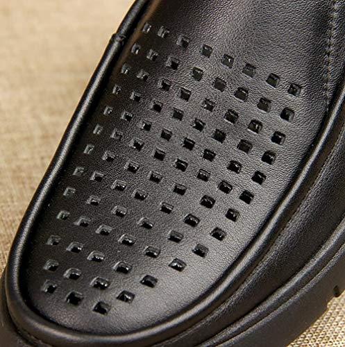 Piedi Uomo Slip Spessa Black Nuovo Uomo Scarpe Set Rotonda Di Uomo Sandali Cuoio In Pelle Testa Casual Di 44 Non Fondo Cavo 6qpnfwd