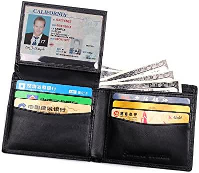 RFID Blocking Wallet for Men Luxury Napa Genuine Leather Slim Bifold Flip up ID