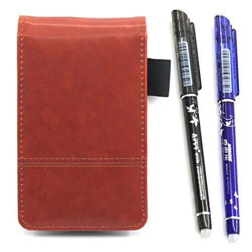 Leather Pocket Notebook Cover Jotter Organizer Memo Pad Holder with Calculator,50 Pages Note Paper, Pen and Business Card Slot - Cards Calendar Slim