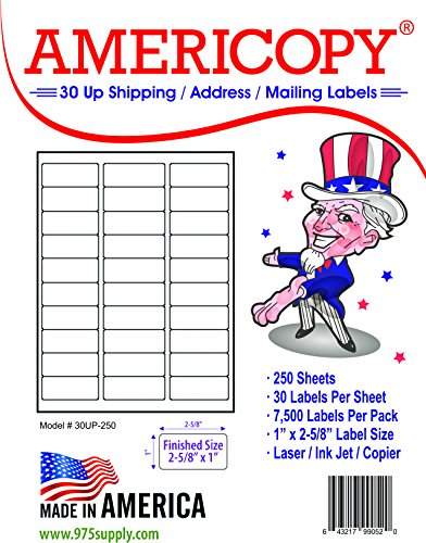 (30 Up Labels - Address Labels - Americopy - Shipping / Mailing Labels - 1