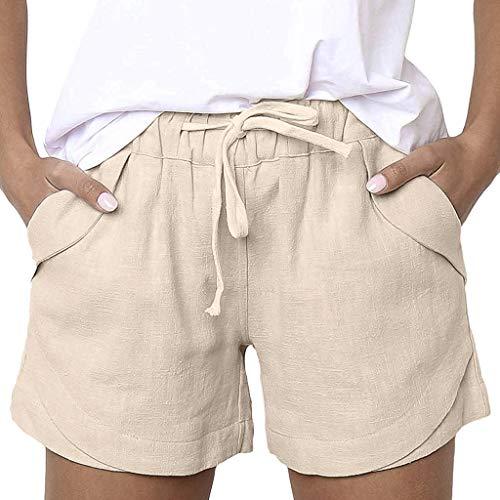 ZEFOTIM ✿ Casual Pants for Women Casual Solid Color Cotton Linen Pockets Bandage Elastic Waist Shorts Pants(Beige,X-Large)