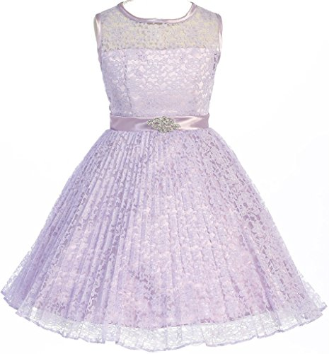 Aki_Dress AkiDress Floral Pattern Lace Flower Girl Dress For Big Girl Lilac 10 ()