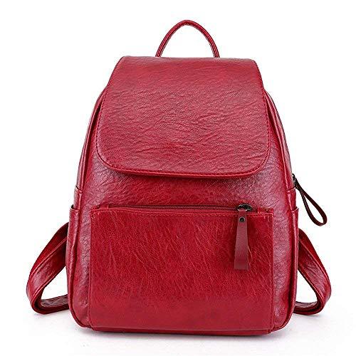Cuero Rojo De Universidad Eeayyygch color Moda Rojo Bolso Hombro Mochila Tamaño Suave 181qtw5