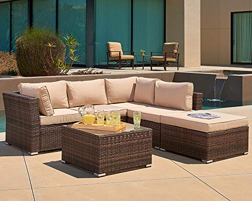 Suncrown Outdoor Furniture Sectional Sofa (4-Piece Set) All-Weather Brown Checkered Wicker with Brown Washable Seat Cushions & Glass Coffee Table | Patio, Backyard, Pool | Waterproof Cover & ()