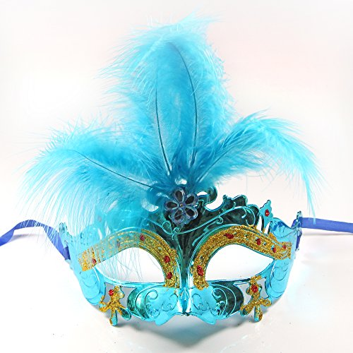 C&L Women's Halloween Feather Topped Masquerade Mask (Blue)