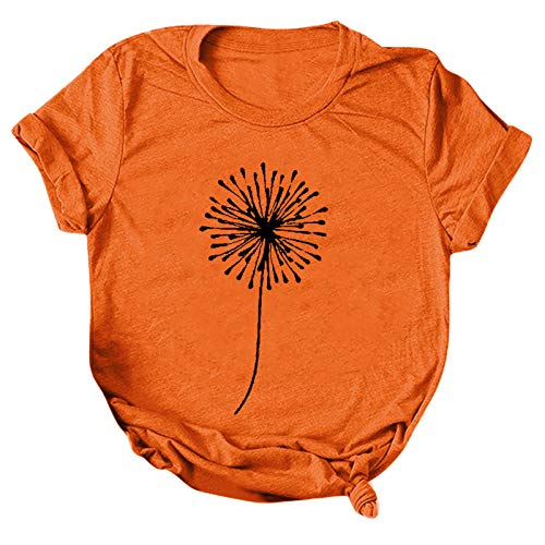 CloudLg Womens Short Sleeve Tops, Womens Loose T-Shirts Casual Dandelion Printing O-Neck Blouse Tops Graphic Tee Shirts