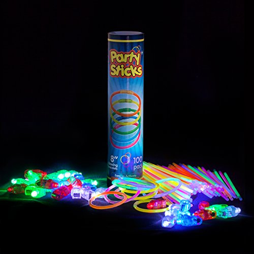 "Glow Sticks Bulk Party Pack - 100 Count 8"" Glowsticks AND 40 Bright LED Finger Lights in Assorted Colors - Rave & Glow In The Dark Party Supplies"
