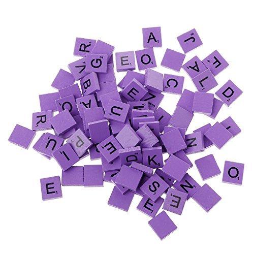 HittecH 100Pcs Wooden Colourful Scrabble Tiles Mix Letters Varnished Alphabet Scrabbles(Purple) (Punch Tile)