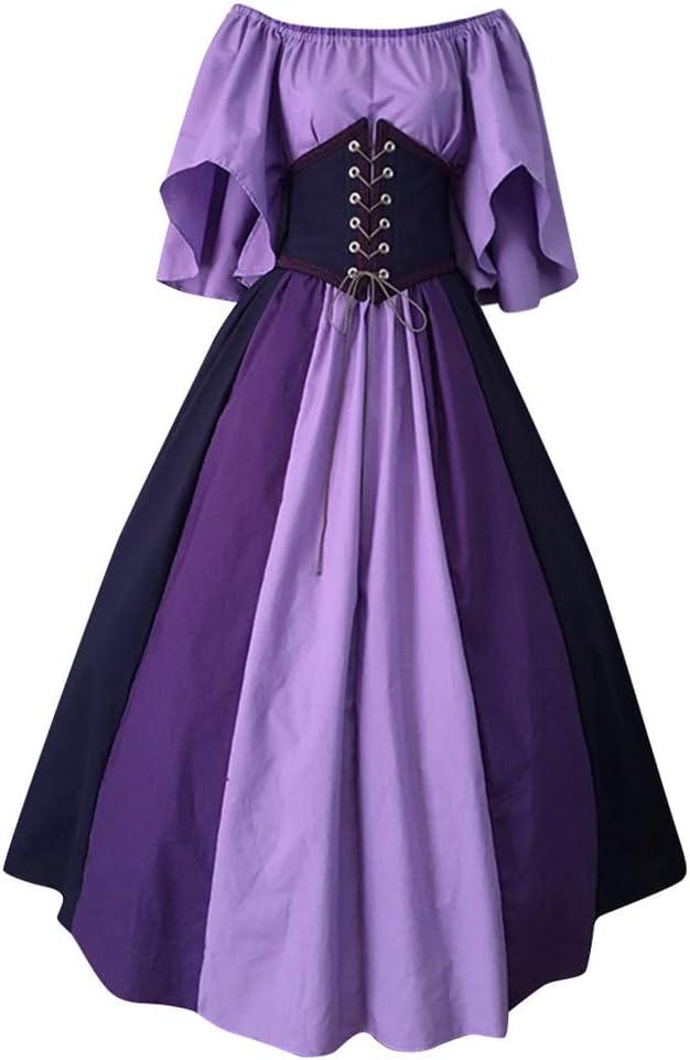 SUMSAYEI Womens Medieval Renaissance Costume Halloween Cosplay Costumes Victorian Irish Retro Gown Long Dress