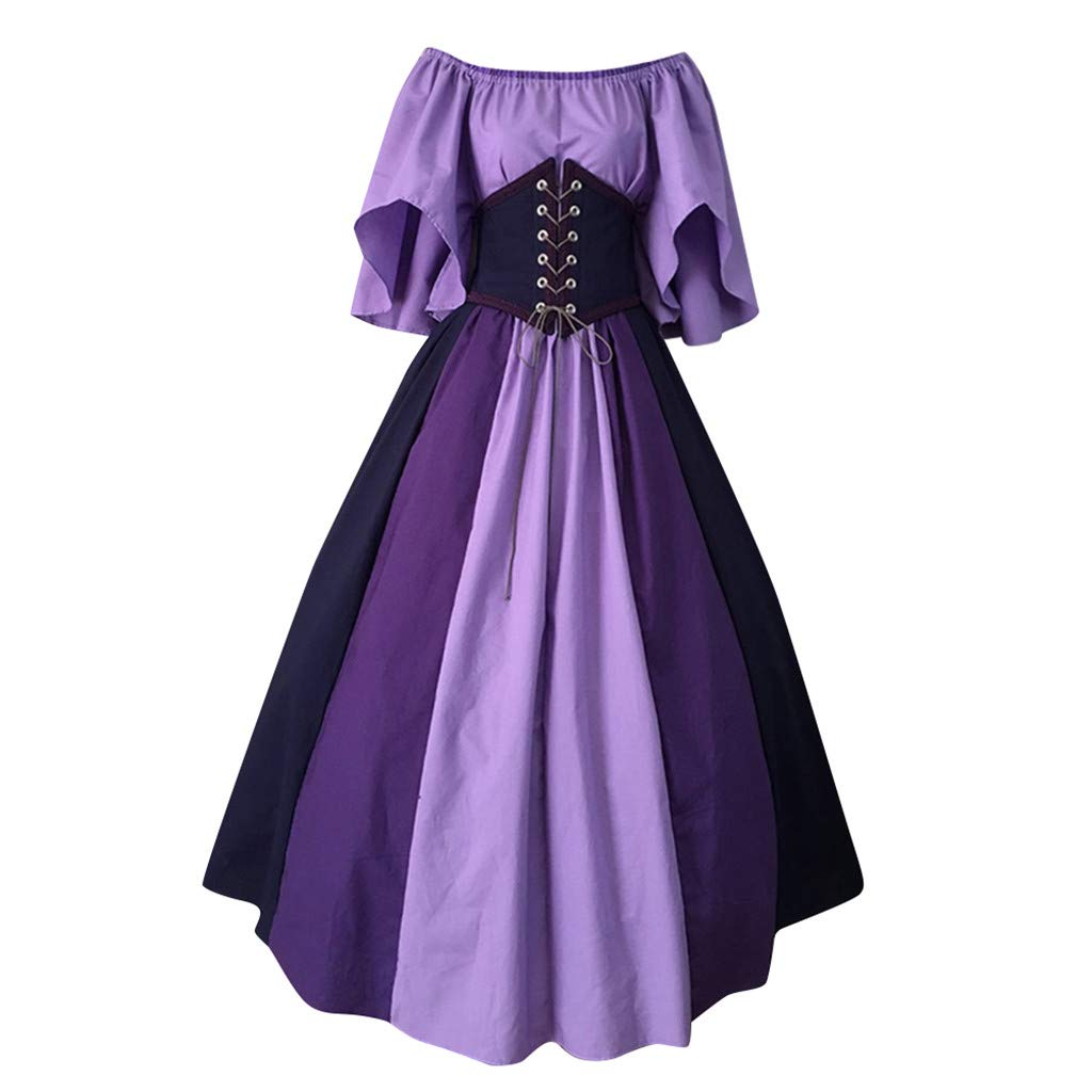 〓COOlCCI〓Women's Costumes,Womens Renaissance Medieval Costume Dress Lace up Irish Over Long Dresses Cosplay Retro Gown Purple by COOlCCI_Womens Clothing