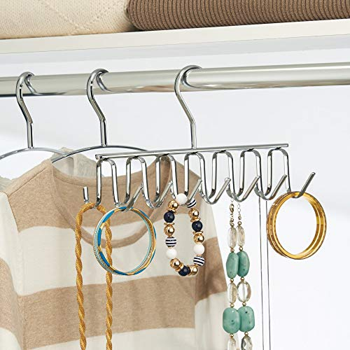 iDesign Axis Metal Hanger, Hanging Closet Organization Storage Holder, Men's Ties, Women's Shawls, Pashminas, Scarves, Clothing, Accessories, 14 Hooks, Tie and Belt Rack