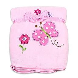 Spasilk Baby-Girls Newborn Extra Thick Plush Blanket with Satin Trim, Pink Butterfly,  30 Inchx40 Inch