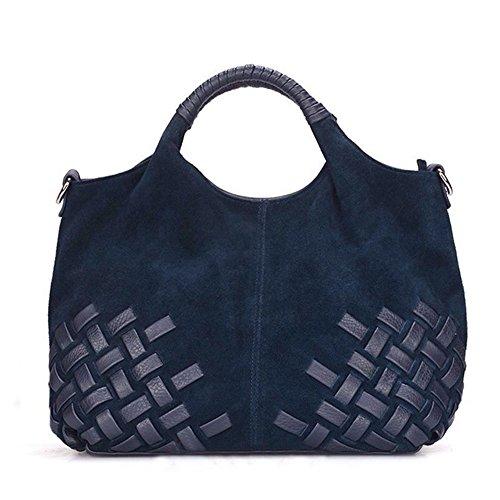 Nico-Louise-Women-Purse-Suede-Split-Genuine-Leather-Weave-Handbag-Leisure-Casual-Shoulder-Bag