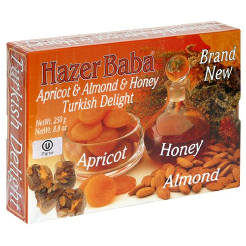 Hazer Baba Turkish Delight, Apricot & Almond & Honey, 8.8-Ounce Boxes (Pack of 6)