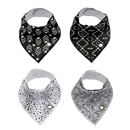 Baby Bandana Drool Bibs With Snaps, ANTEQI Unisex 4-Pack Baby Shower Gift Set For Drooling & Teething, 100% Organic Cotton Super Absorbent & Soft For Boys And Girls (Black with white-1)