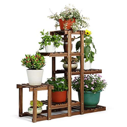 HYNAWIN Wood Plant Flower Rack Plant Stand Multiple Planter Holder Display Storage Shelves