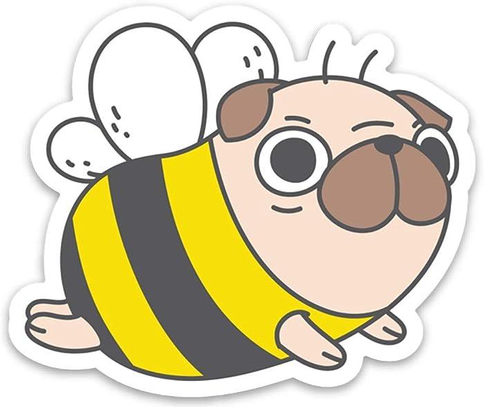 Pug Bee Pug Vinyl Sticker Laptop Sticker