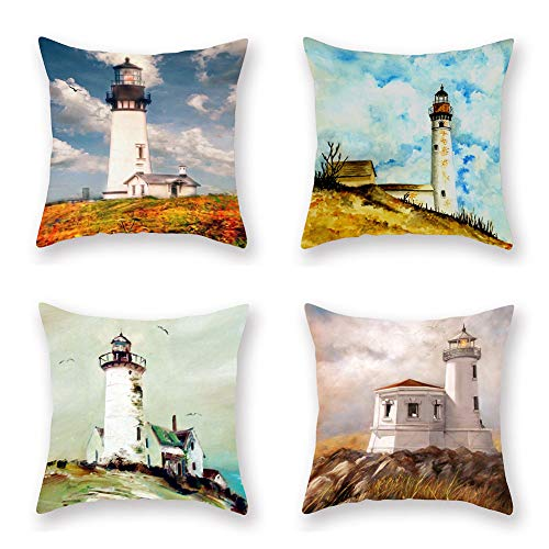 "ShareJ 4 Pack Decorative Pillow Cover Waiting Lighthouse Throw Pillow Cases Home Decor Indoor Gift Kitchen Garden Sofa Bedroom Car Living Room 18""X18"" Super Soft Pillowcase from ShareJ"