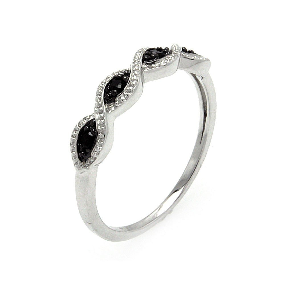 Clear And Black Cubic Zirconia Swirl Design Ring Rhodium Plated Sterling Silver Size 9