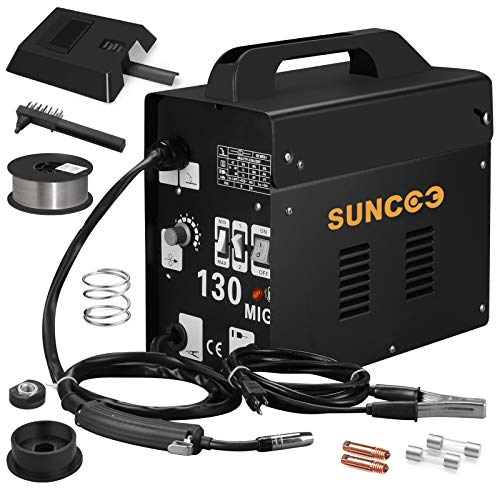 SUNCOO 130 MIG Welder Flux Core Wire Automatic Feed No Gas Welding Machine 110 Volt with Free Mask and Spool Gun Black