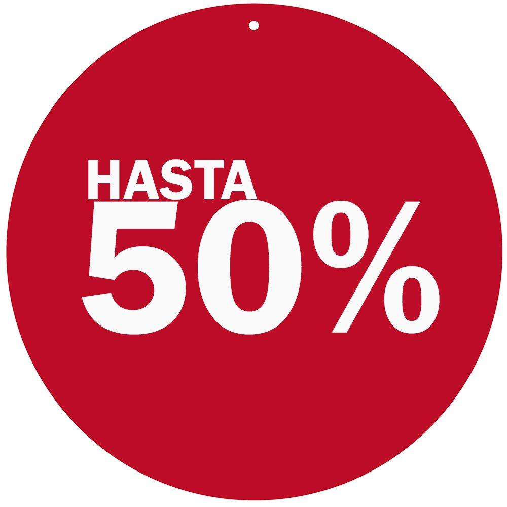 ideal para mostrar ofertas de su establecimiento . Cart/ón microcanal Rebajas 50/%