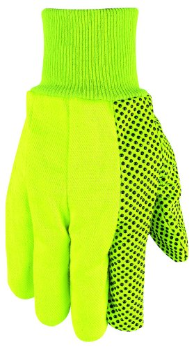 Mens Pvc Dotted Canvas - MCR Safety 8808Y High Visibility PVC Dotted Canvas Standard Weight Knit Wrist Men?s Gloves with Straight Thumb, Yellow, Large, 1-Pair