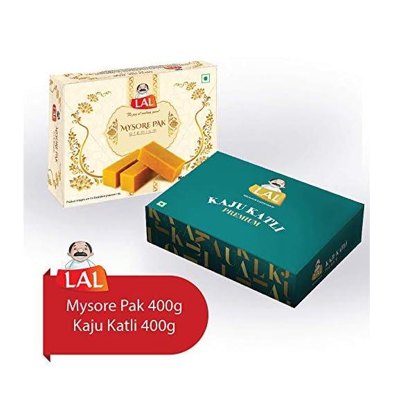 LAL Combo Pack of Mysore Pak (400g) and Kaju Katli (400g)