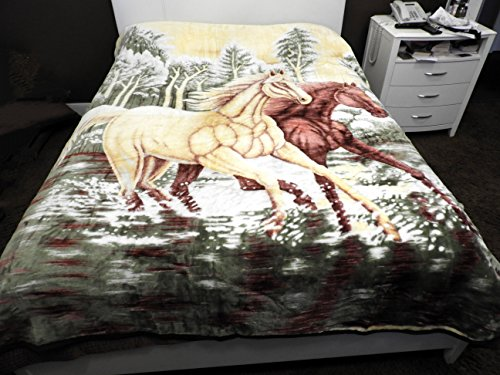 Heavy Plush Soft Mink Velvet Fleece Blanket Horse Print Quee