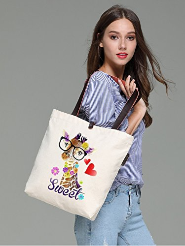 So'each Women's Sweet Giraffe Love Graphic Canvas Handbag Tote Shoulder Bag