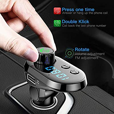 Bluetooth FM Transmitter Car Adapter, MANLI Car Charger MP3 Player, Bluetooth 5.0, with 3 Ports for iPhone, Android and Type C, 1 USB 5V/2.1A and TF Card Connection, Handsfree: Car Electronics