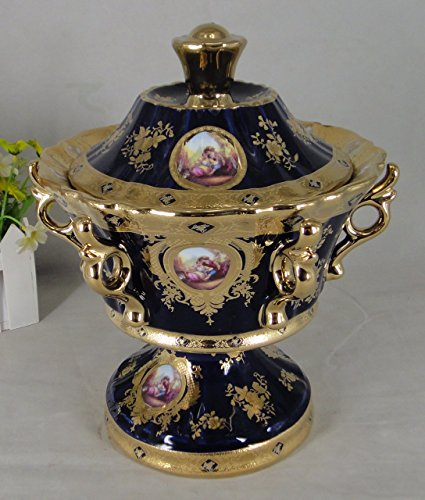 - Limoges Style Candy Jar/Tureen Centerpiece in Cobalt Blue & Gold Romance Design, WG1693