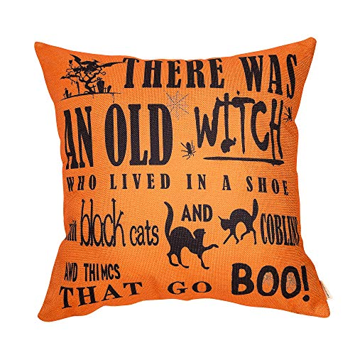 Fahrendom Halloween Sign Witch Poem Black Cat Boo Funny Quote Cotton Linen Home Decorative Throw Pillow Case Cushion Cover with Words for Sofa Couch 18 x 18 in