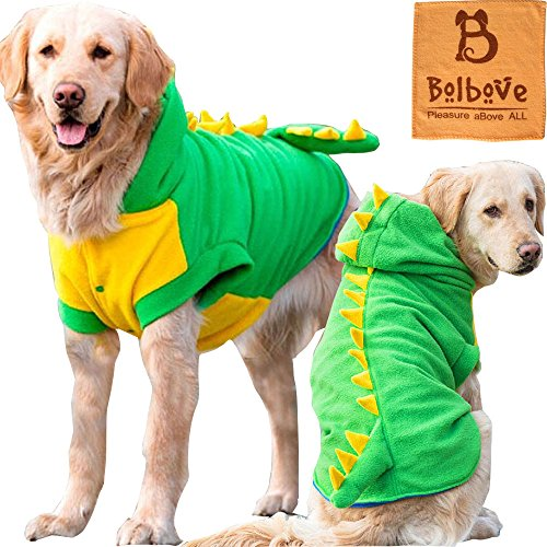 Bolbove Large Dog Fleece Outfit Dinosaur Costume with Hood for Big Dogs Cold Weather Coats Large Dogs Party Apparel (Pumpkin Outfit For Dogs)
