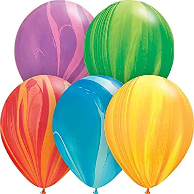 Qualatex Rainbow SuperAgate Assortment Biodegradable Latex Balloons, 11-Inches (10-Units): Toys & Games