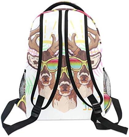 手描き鹿エルクメガネショルダー バックパック 学生 ブックバッグ 旅行 キッド ガールズ ボーイズ用