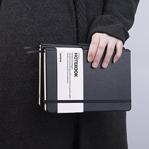 Cuaderno Rayas/Lined Notebook - Journal Forrado de Tapa Dura con Bolsillo para Escribir en Página + Divisores de Regalos, en Banda, Grande, 180 Páginas, Negro, 5,75 * 8,5 in ches