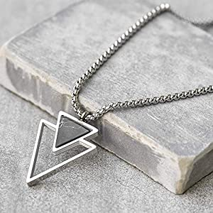 Best Epic Trends 517XFKe3IUL._SS300_ Handmade Long Stainless Steel Necklace For Men With Triangle Pendant - Silver Necklace For Men - Geometric Necklace For…