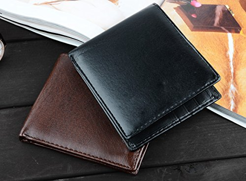 Mens Case Purse Window Leather Front ID Black Money Holder Card Pocket Wallet Slim Synthetic r7qw6rp