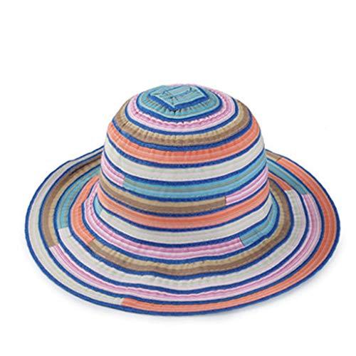 Summer Beach Sun Hats,Quaanti Clearance Sale! Women Adult Striped Print Foldable Fisherman Hat Sunscreen Outdoors Cap Hot Sale (Blue)