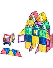 Playmags nagrodzone Jasne kolory magnetyczny Płytki 50 sztuk budynku stojącym w tym samochodzie - Kolorowe & Durable STEM Magnetyczne zabawki Opracowanie motorycznych i Kreatywność - 6 Dodatkowe Clickins włączone