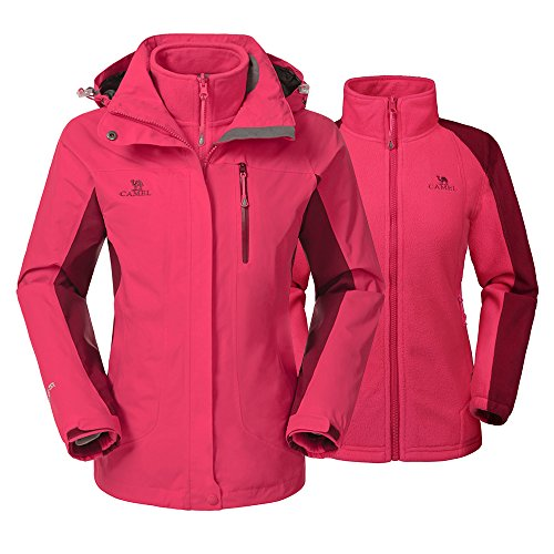 Camel Women's 3-In-1 Systems Jacket Waterproof Color Coral Red Size Medium