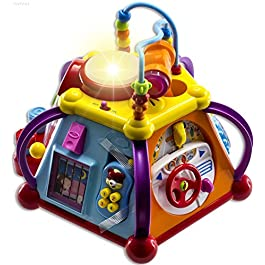 WolVolk Educational Kids Toddler Baby Toy Musical Activity Cube Play Center with Lights, Lots of Functions and Skills…