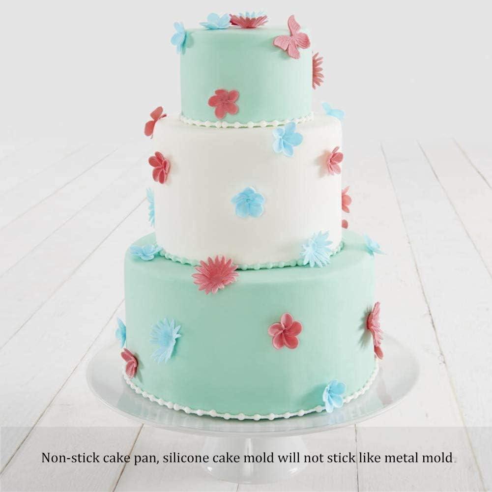 3 Silikon-Kuchenformen Set mit 4 antihaftbeschichtet 15 20,3 cm rund Hochzeit Rot Backform f/ür Geburtstag Jahrestag Kuchenform Party