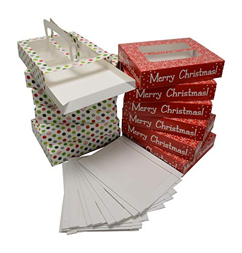Holiday Treat Boxes (Christmas Cookie gift boxes with handles and tray, low rectangle shape with clear window on top, 2 holiday designs 6 of each print (Set of 12 treat boxes and 12)