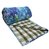 Home Décor Full Size White Quilt Handmade Cotton Reversible Bedspread Floral Print Gudri Throw India