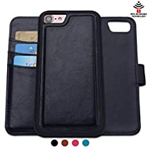 SHANSHUI Wallet Case Compatible iPhone 7/8, Detachable 2 in 1 Magical Changing Thermal Sensor Fluorescent Thermal Heat Induction Card Slots Removable Flip Cover (DarkGreen-Blue 4.7)