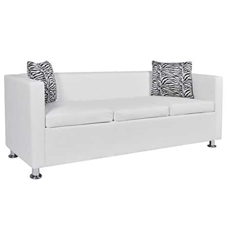 Amazon.com: 3-Seater White Artificial Leather Sofa With 2 x ...